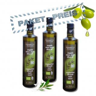 Ausgezeichnetes KOLYMPARI S.A. 04504 - Organic Extra Virgin Olivenöl 2250ml 3 Flaschen von Kreta MHD05/22