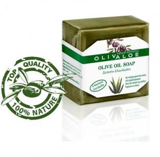 OLIVALOE 00196 - Handgemachte traditionelle Olivenölseife 200g für Gesicht/Körper von Kreta