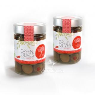 VIOS 05040 - 2x Grüne Oliven gefüllt mit Piment im Glas (=420g netto) von Kreta