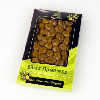 EFROSINI SPICES 610 - Grüne Oliven ganz Frucht mit Oregano 250g, vakuumverpackt , aus Chania Kreta
