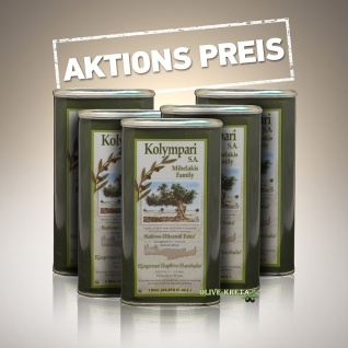 5x KOLYMPARI SA 04055 Natives-Olivenoel Extra Kolymvari Mihelakis AKTION 5x1000ml Dose