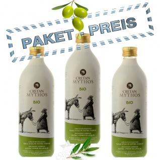 CRETAN MYTHOS 03515 - 3 x 1Liter Flaschen Organic Natives Olivenöl Extra (= 3 Liter) von Chania Kreta