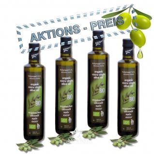 Ausgezeichnetes KOLYMPARI S.A. 04503 - 4x 500ml Organic Extra Virgin Olivenöl (=2 Liter) von Kreta MHD05/21