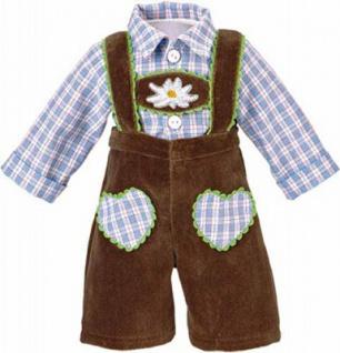 Käthe Kruse 33995 - Puppen Bekleidung - Lederhose mit Karohemd, 39-41 cm, braun