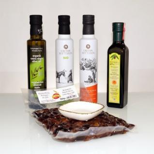 PROBIERSET 20028 - 6tlg. Verschiedene Olivenöle 1Liter, Kalamon Oliven 500g und Schale