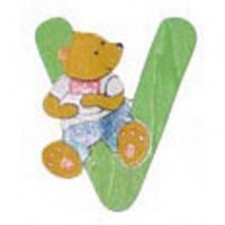 """Holz-Buchstabe """" V"""" - Teddy, Türschild"""