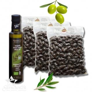 MOUSTERAKIS 07950 - 3x500g KALAMON Black Oliven in Salz eingelegt + 250ml BIO OLIVENÖL KOLYMPARI S.A. 04502