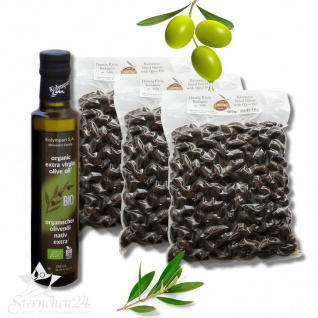 Mousterakis 07950 - 3x500g Kalamon Black Oliven In Salz Eingelegt + 250ml Bio OlivenÖl Kolympari S.a. 04502 - Vorschau 1