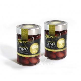 VIOS 05010 - 2x Bio Kalamon Oliven im Glas 420g (schwarze Oliven)