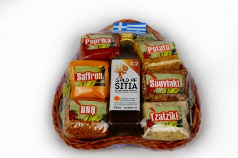 EFROSINI SPICES 138003 - 7 tlg. Geschenkkorb Set in Herz groß Gewürze & Olivenöl extra nativ 60 ml Kreta
