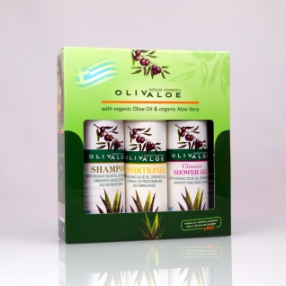 OLIVALOE 00261 - GESCHENKSET 3tlg., Shampoo 90ml + Conditioner 90ml + Duschgel CLASSIC 90ml, Naturkosmetik