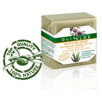 OLIVALOE 00198 - Handgemachte traditionelle Olivenölseife mit Aloe Vera/Kamille/Calendula 200g für Gesicht/Körper von Kreta