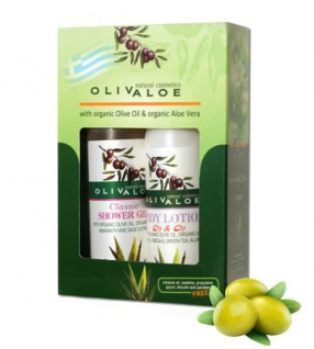 OLIVALOE 00252 - GESCHENKSET 2tlg., Body Lotion mit ?3 & ?6 90ml + Duschgel CLASSIC 90ml, Naturkosmetik