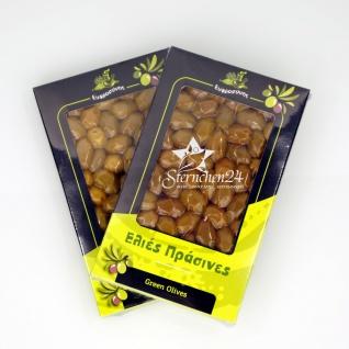 EFROSINI SPICES 600 - 2er Set Grüne Oliven ganz Frucht vakuumverpackt (2x250g), aus Chania Kreta