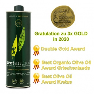 CRETANTHOS® 02553 - ?IO Olivenöl Early Harvest 500ml - Frühe Ernte von Kreta