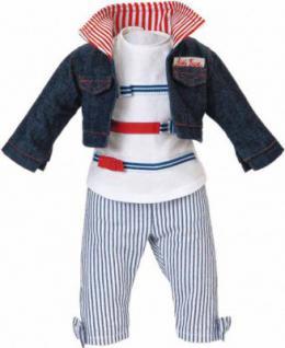 Käthe Kruse 42502 - Puppen Bekleidung - Streifenoutfit mit Jeansjacke, 39-41 cm