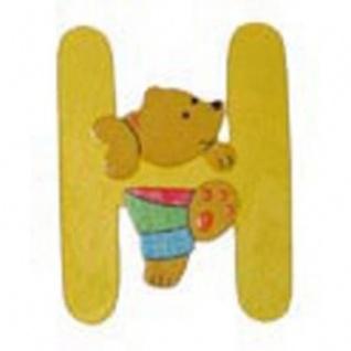 """Holz-Buchstabe """" H"""" - Teddy, Türschild"""