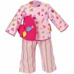 Käthe Kruse 33991 - Puppen Bekleidung - Pyjama mit Herzkissen, 30-33 cm, rosa/bunt