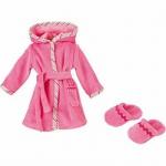 Käthe Kruse 33993 - Puppen Bekleidung - Bademantel mit Hausschuhen, 30-33 cm, rosa