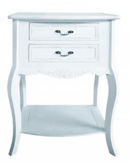 Beistelltisch im Landhausstil in weiß, mit zwei Schubladen - Vorschau