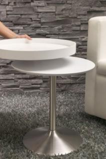 Moderner Tablett-Tisch, Beistelltisch, Farbe weiss-satiniert