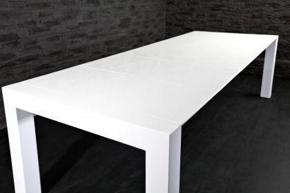 moderner Tisch, hochglanz lackiertes Furnierholz, weiß