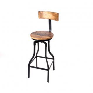Barhocker, Tresenhocker im Industriedesign aus Akazienholz und Metall, 76 cm Sitzhöhe