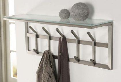 Wandgarderobe mit Ablagefläche, moderne Garderobe mit 10 Haken, Edelstahl, Höhe 35 cm