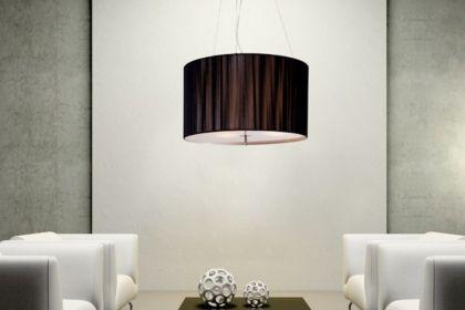 Hängeleuchte, Pendelleuchte mit einem schwarzem Lampenschirm, Ø 50 cm