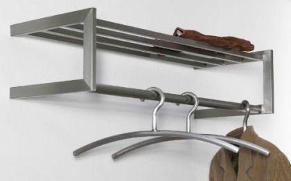 Wandgarderobe mit Ablagefläche und Bügelstange, moderne Garderobe, Edelstahl, Höhe 20 cm