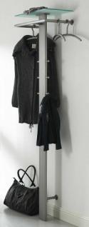 Wandgarderobe aus Edelstahl, Garderobe mit Hutablage aus Glas, Breite 53 cm