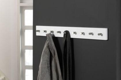 Wandgarderobe weiß, Garderobe mit 9 Haken aus Edelstahl, Breite 80 cm