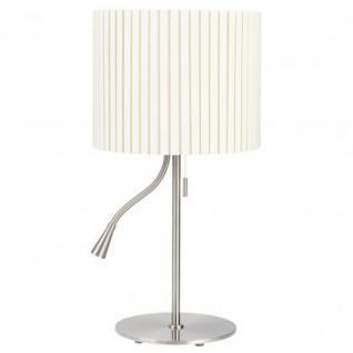 Tischleuchte Metall satin Textilschirm weiß modern LED + Leseleuchte