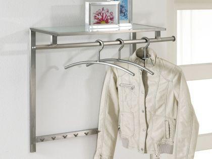 Wandgarderobe aus Edelstahl und Ablage aus Glas, Garderobe mit Kleiderstange und Haken aus Edelstahl, Breite 90 cm