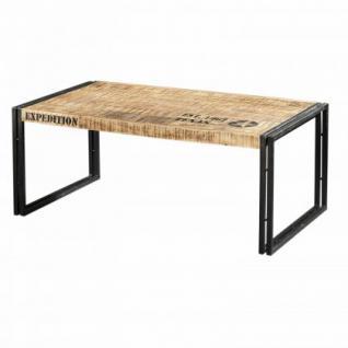 Couchtisch aus Akazienholz im Industriedesign 110 cm breit