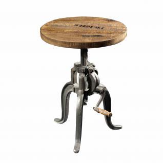 Beistelltisch aus Massivholz im Industriedesign, Durchmesser 45 cm, höhenverstellbar - Vorschau 1