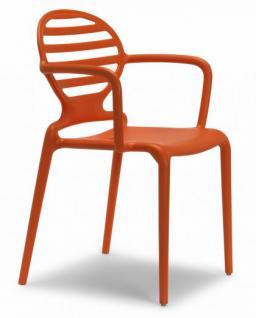 Design Stuhl Kunststoff Armlehne orange