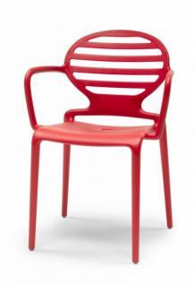 Design Stuhl Kunststoff Armlehne rot