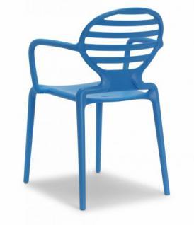 Design Stuhl Kunststoff Armlehne blau
