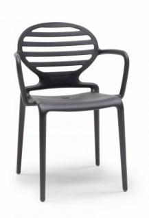 Design Stuhl Kunststoff Armlehne anthrazit