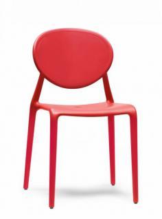 Design Stuhl Kunststoff Glasfaser rot