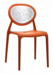 Design Stuhl Kunststoff Glasfaser Chrom orange