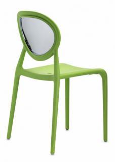 Design Stuhl Kunststoff Glasfaser Chrom grün