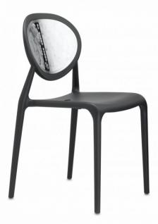 Design Stuhl Kunststoff Glasfaser Chrom anthrazit