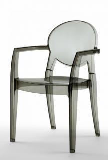 Design Stuhl modern klassisch mit Armlehne transparent grau - Vorschau