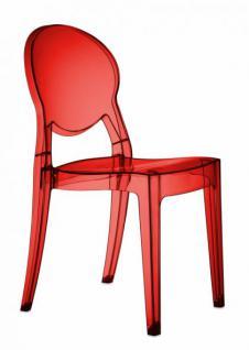 Design Stuhl modern klassisch Kunststoff transparent rot