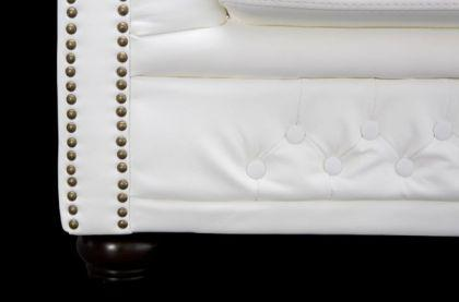 Klassischer Chesterfield Sessel, weiß / matt mit Nietenbesatz - Vorschau 3