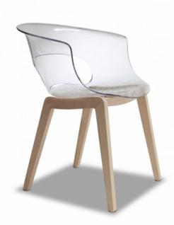 Design Stuhl Holz Buche Kunststoff Sitz transparent
