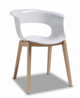 Design Stuhl Holz Buche Kunststoff Sitz weiß