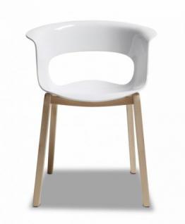 Design Stuhl Holz Buche Kunststoff Sitz Weiß   Vorschau 3